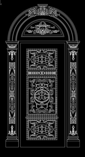 31.Autocad Wooden Door free download