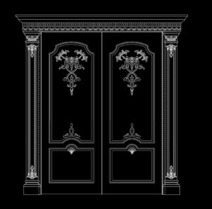 32.Autocad Wooden Door free download