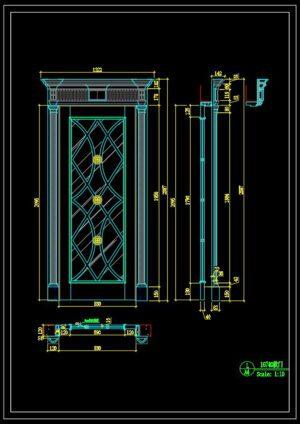 100.Autocad Wooden Door free download