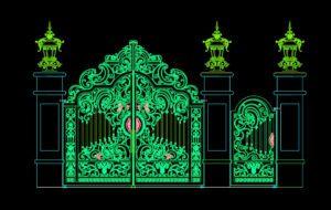 35.Gate design AutoCAD blocks free download