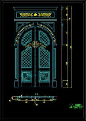 96.Autocad Wooden Door free download