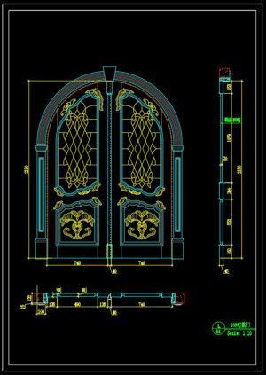 97.Autocad Wooden Door free download