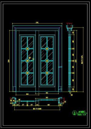 99.Autocad Wooden Door free download