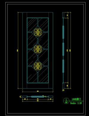 144.Autocad Wooden Door free download