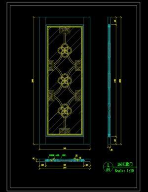 145.Autocad Wooden Door free download